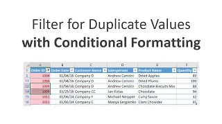 Filter for Duplicates with Conditional Formatting