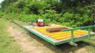 preview picture of video 'The solution when two Bamboo Train meet, Battambang'