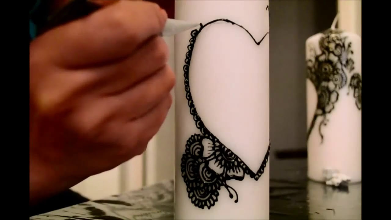 how to make mehndi designs on candles by naqsh