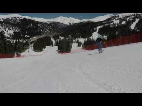 Everett McEwan Freeriding at Loveland on Donek Rev 163 Slalom board