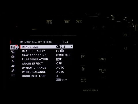 Fujifilm XPro2 - Detailed Menu Settings