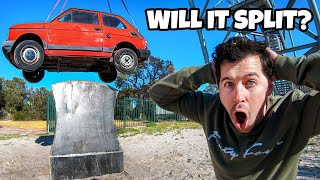 We Dropped A Car On A Giant Axe from 45m (150ft)