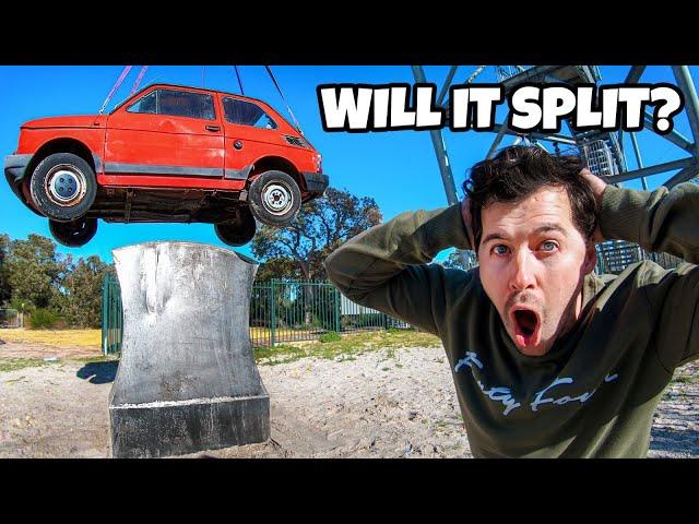 Что получится, если сбросить маленький автомобиль на гигантский топор