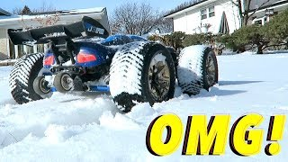 UNBOXING & SNOW BASHING! - 50+ MPH J3SPEED - 1:10 BRUSHLESS RC SUPER TRUGGY - JLB Racing FULL REVIEW