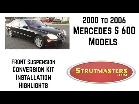 1999-2006 Mercedes S 600 With A Strutmasters Air Suspension Conversion (Front Install video)