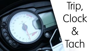 Setting the Trip, Clock & Tachometer (on a GSX650F)