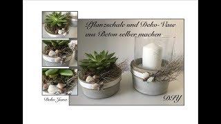 DIY: Stylische Pflanzschale Und Deko Vase/ Windlicht Aus Glas Und Beton Selber  Machen