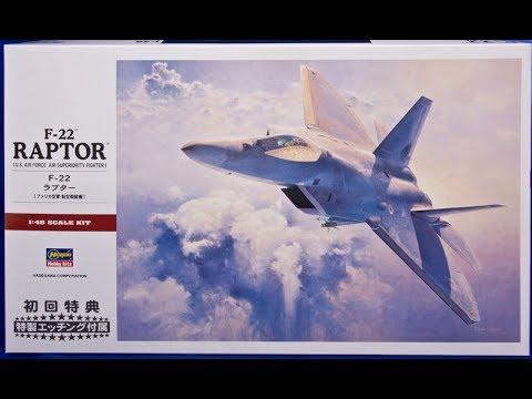 Hasegawa 1//48 Scale Plastic Model Kit F-22 Raptor USAF PT-45
