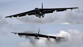 🇺🇸 Impressive Low B-52 Bombers Landing at RAF Fairford, England.