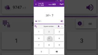 Math Tricks - Training mode - square numbers beween 20 and 29 - level 020 (Number Keyboard)