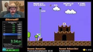 Super Mario Bros. NES speedrun in 4:58.625 by Arcus