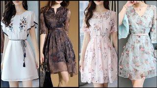 Top Class Gorgeous And Elegant Chiffon ALine/Skater Dress Design /Knee Length Dresses