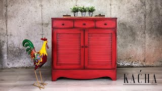 Red Fall Buffet Makeover With Rustoleum Chalk Paint