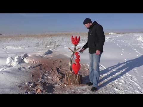 Валентинка-цветок, пилим из горбыля бензопилой