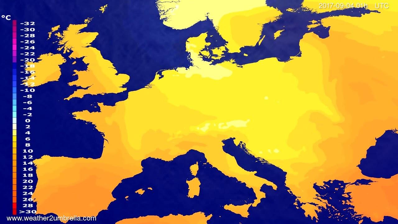 Temperature forecast Europe 2017-09-01