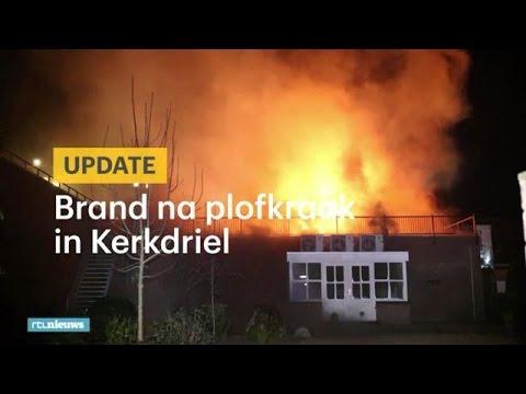 Grote brand na plofkraak in Kerkdriel; eigenaar mishandeld