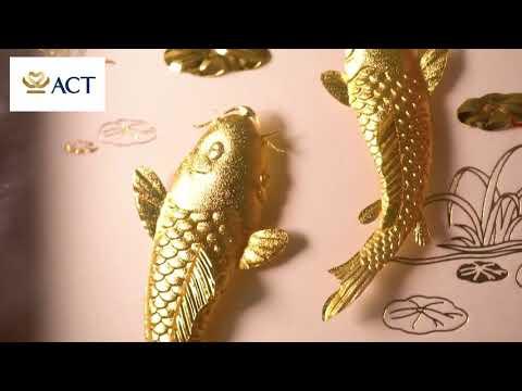 Tranh cá chép hoa sen (15x28cm)