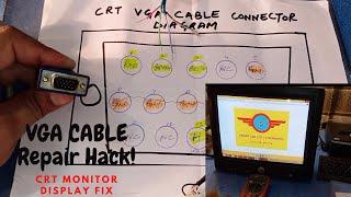 CRT Monitor VGA Cable Repair || How to repair vga cable