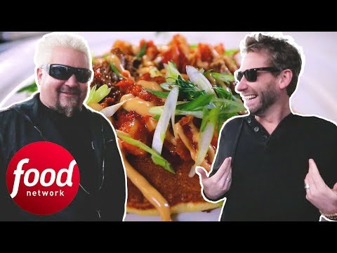 Guy Fieri And Chad Kroeger Try Out A Duck Pancake With Kimchi   Diners Drive-Ins & Dives