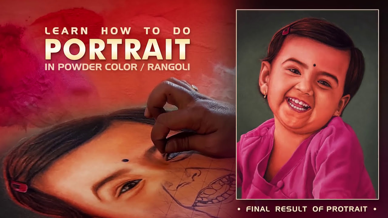 how to do portrait rangoli of a kid by tushart