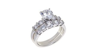Absolute 2.14ctw Cubic Zirconia Bridal Ring Set