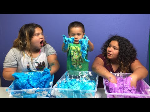 MAKING 3 GALLONS OF BIRTHDAY SLIME WITH OUR BABY BROTHER GABE