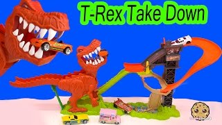 T-Rex Dinosaur Take Down Hot Wheels Cars Track Playset + Jurassic World Matchbox Toy Unboxing