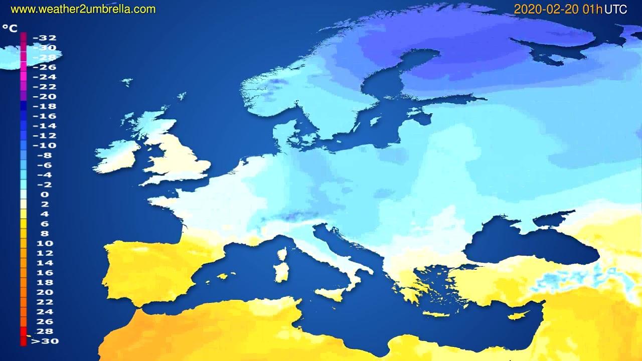 Temperature forecast Europe // modelrun: 12h UTC 2020-02-18