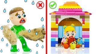 SUPERHERO BABY BUILDS LEGO BIRD PLAYHOUSE 💖 Stop Motion Cartoons Animation
