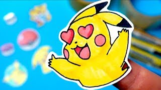 How to make DIY Stickers WITHOUT Sticker Paper   POKEMON