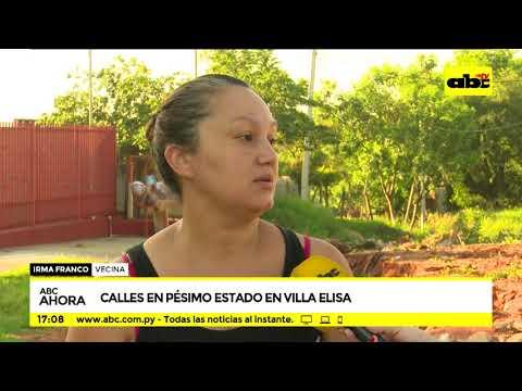 Calles en pésimo estado en Villa Elisa