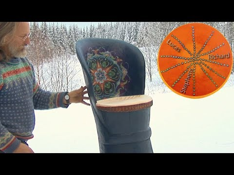 Log Chair Carving and Painting -Scandinavian Kubbestol
