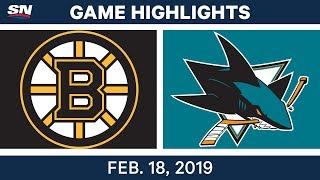 NHL Highlights | Bruins vs. Sharks - Feb 18, 2019