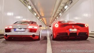 Download Youtube: Ferrari 458 Speciale vs Audi R8 INSANE Straight Pipes REV BATTLE!