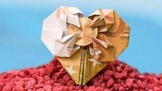 Money Origami HEART With STAR, Easy Euro Money Folding ❤️