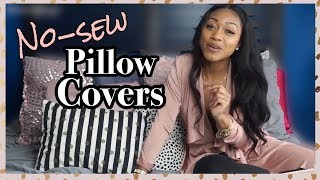 Easy DIY Throw Pillow Covers | Cover ANY Pillow (NO SEWING required)