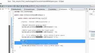 Java Tutorial - isWhiteSpace() method to find if the character is a WHITESPACE