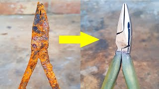 Fully Stucked and Rusted Flat Nose Plier - Restoration