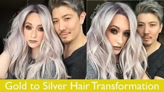 Gold to Silver Hair Transformation