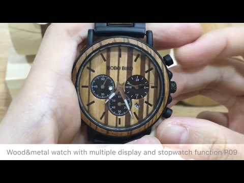 Fashionable metal and wood watch with multiple display BOBO BIRD P09