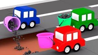 Мультики для детей про 4 машинки - Машинки собирают асфальтовый каток
