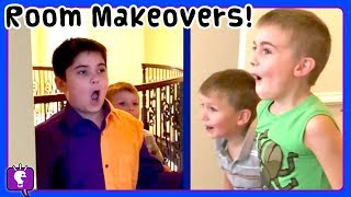Kids REACT to ROOM MAKEOVERS! HobbyKids Get Their Own NEW Rooms -- DIY Ideas