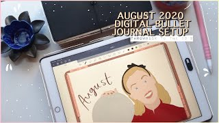 PLAN WITH ME | August 2020 Digital Bullet Journal SetUp | ++Free Printables!!