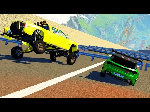 BeamNG drive  High Speed Car Jumps to Guardrails CrashTherapy