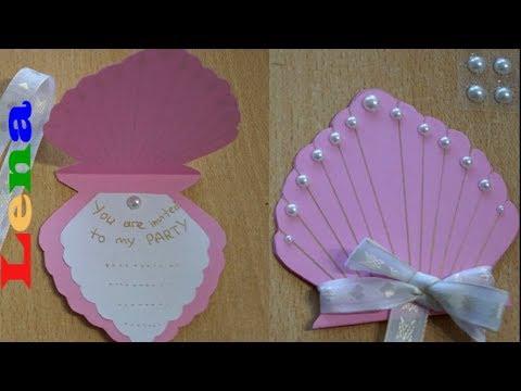 Muschel Einladung basteln mit Lena - Birthday Invitation card craft - приглашение на день рождения