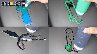 Minecraft Pancake art - Herobrine, Creeper, Ender Dragon, Ender Man