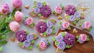 How to make FLOWER CLUSTER COOKIES - Lean how to pipe flowers with royal icing