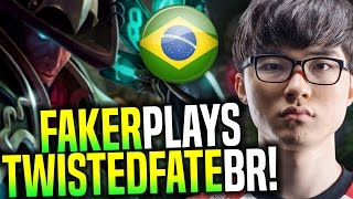 Faker Destroying Brazil SoloQ - SKT T1 Faker Playing Twisted Fate In BR Bootcamp | SKT T1 Replays