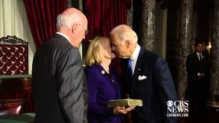 Biden swears in Leahy as Senate's president pro tempore