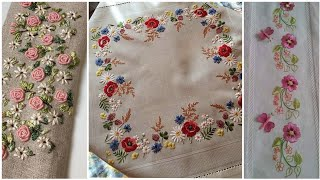 Elegant And Classy Hand Embroidery Designs Patterns For Bedsheets Table Cover Mats